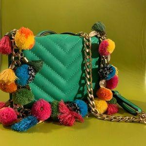 Pom Pom tassle emerald green and gold chain clutch